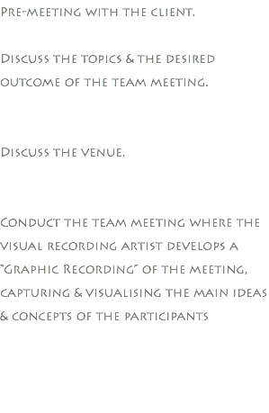 "Pre-meeting with the client. Discuss the topics & the desired outcome of the team meeting. Discuss the venue. Conduct the team meeting where the visual recording artist develops a ""Graphic Recording"" of the meeting, capturing & visualising the main ideas & concepts of the participants"