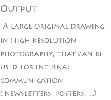 Output A large original drawing in High resolution photography, that can be used for internal communication ( newsletters, posters, ...)